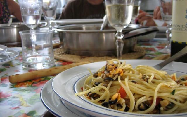 Spaghetti med musslor i Cinque terre